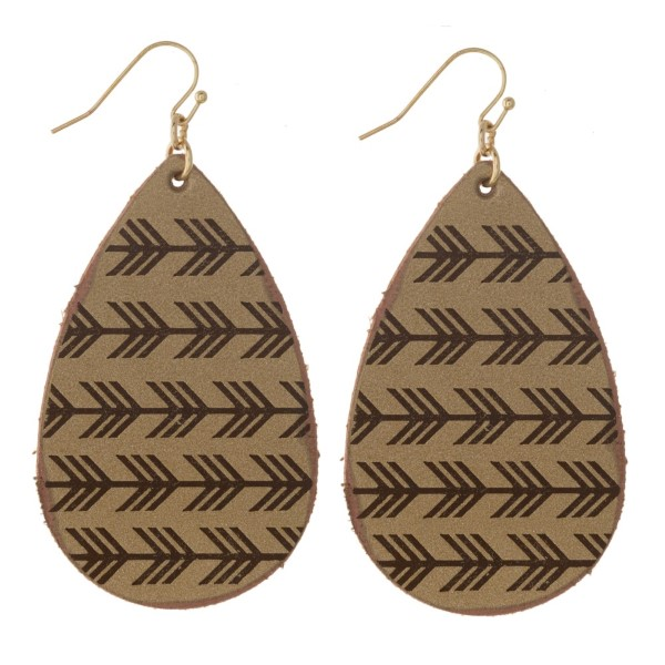 """Faux leather teardrop earring with metallic detail. Approximately 2"""" in length."""