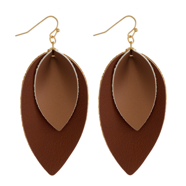 "Double layered teardrop faux leather earring. Approximately 2"" in length."