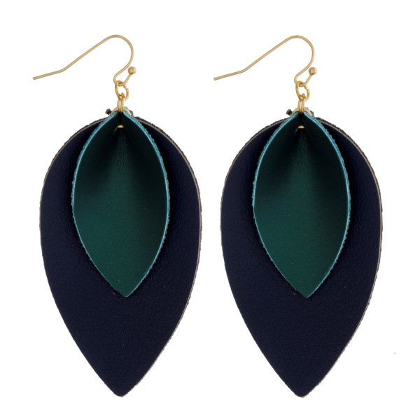 """Double layered teardrop faux leather earring. Approximately 2"""" in length."""
