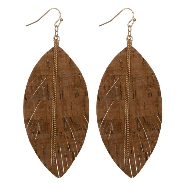 """Gold tone fishhook earring with cork feather shape. Approximately 3"""" in length."""