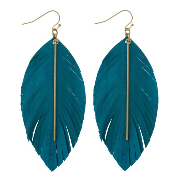 """Genuine leather feather inspired earring featuring a metal bar accent. Approximately 3"""" in length."""