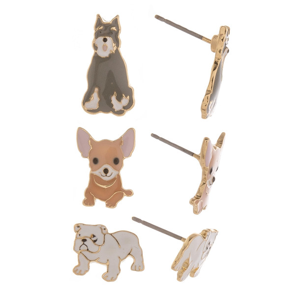 Three-pair stud earrings with dogs. Approximate 1cm in length.
