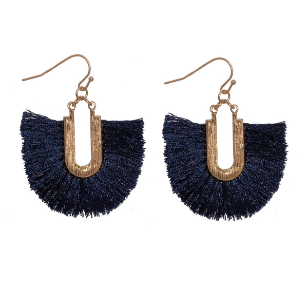 "Gold tone fishhook earring with navy fanned tassel. Approximately 1.5"" in length."