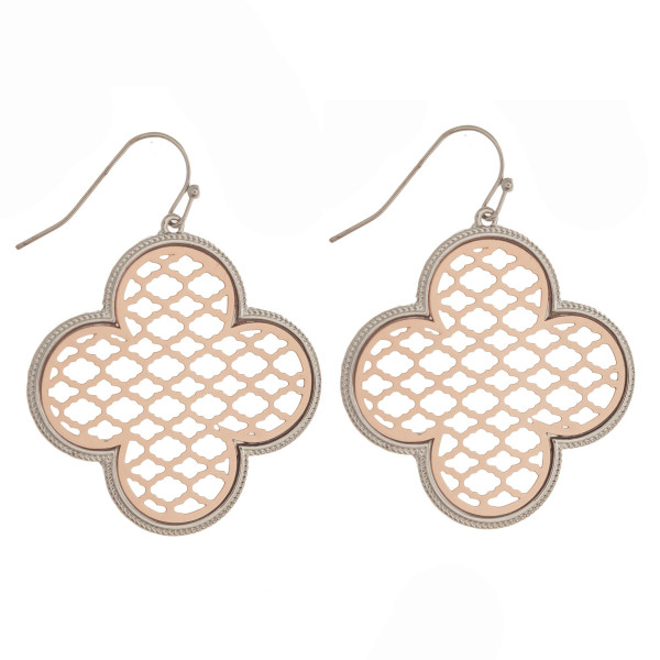 "Metal fishhook earring with filigree clover shape. Approximately 1.5"" in length."