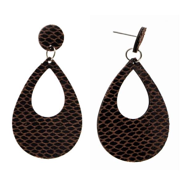 """Faux snakeskin stud earring with teardrop shape. Approximately 2.5"""" in length."""