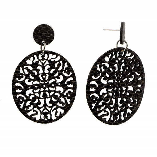 """Faux snakeskin stud earring with filigree oval shape. Approximately 2.5"""" in length."""
