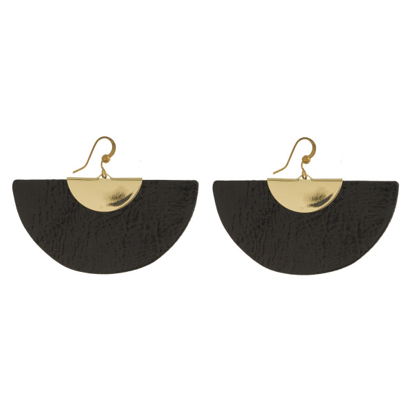 """Gold tone fishhook earring with faux metallic leather detail. Approximately 2"""""""