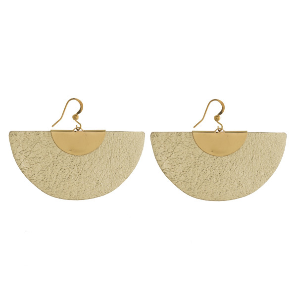 Gold tone fishhook earring with faux metallic leather detail. Approximately 2""