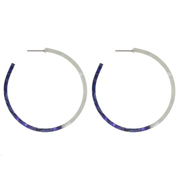 """Acetate stud hoop earring. Approximately 1.75"""" in diameter."""