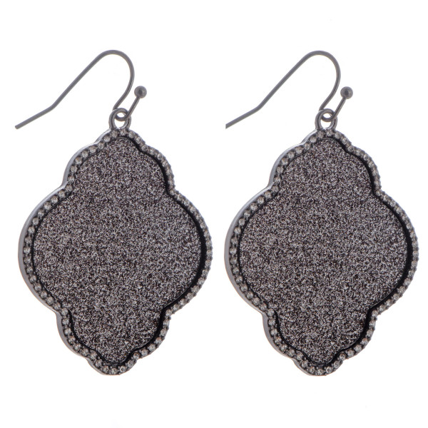 """Fishhook moroccan shape earring with glitter and rhinestone details. Approximately 1.5"""" in length."""
