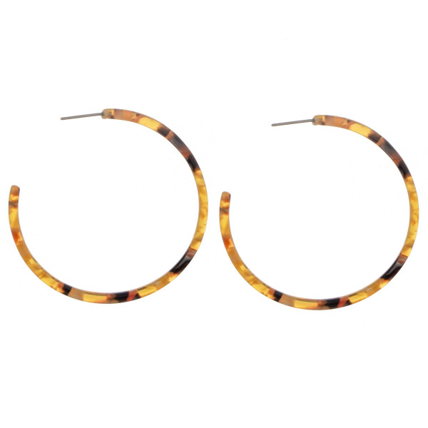"""Long brow opened hoop acetate earring. Approximate  2"""" in diameter."""