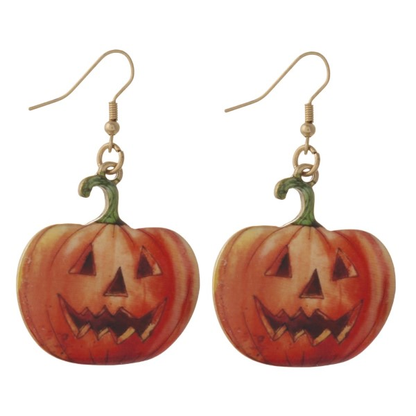 "Fishhook earring with jack-o-lantern shape. Approximately 1"" in length."