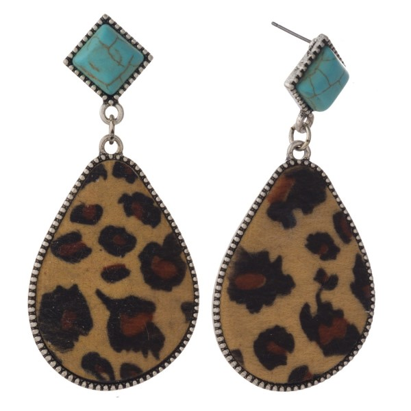 """Turquoise stud earring with leopard print teardrop shape. Approximately 2"""" in length."""