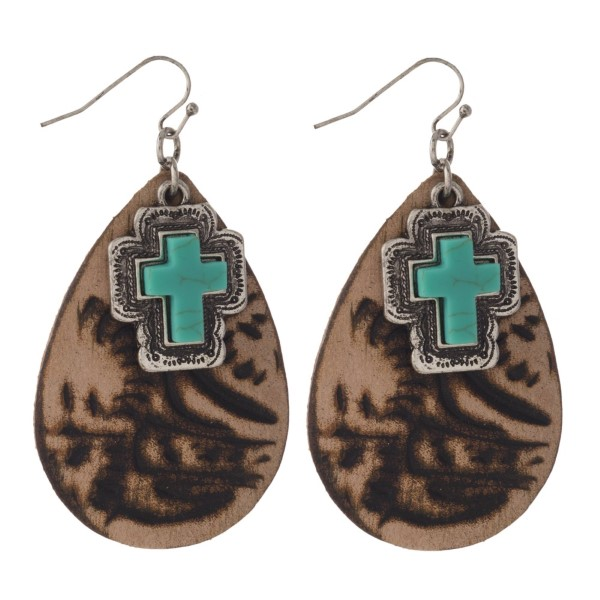 "Faux leather teardrop shaped earring with turquoise charm. Approximately 2"" in length."