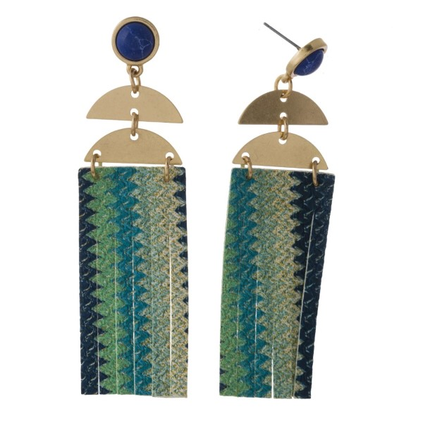 """Stone stud earring with long faux leather rectangle shape. Approximately 2.5"""" in length."""