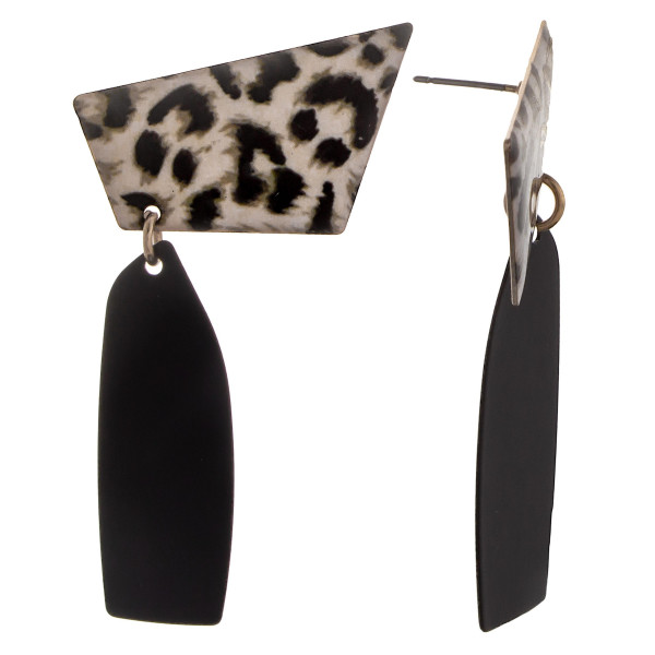 Long metal animal print earring. Approximate 2.5 in length.