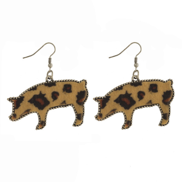 """Silver tone fishhook earring with leopard print pig shape. Approximately 2"""""""