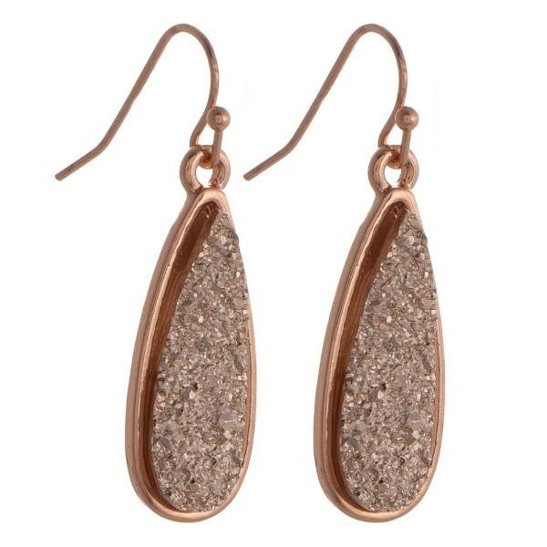 """Fishhook druzy earring with teardrop shape. Approximately 1.5"""" in length."""