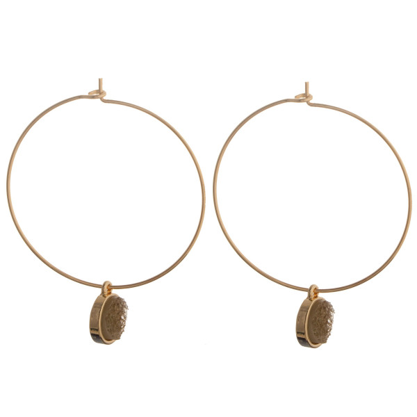 "Dainty hoop earring with druzy detail. Approximately 1.5"" in length."