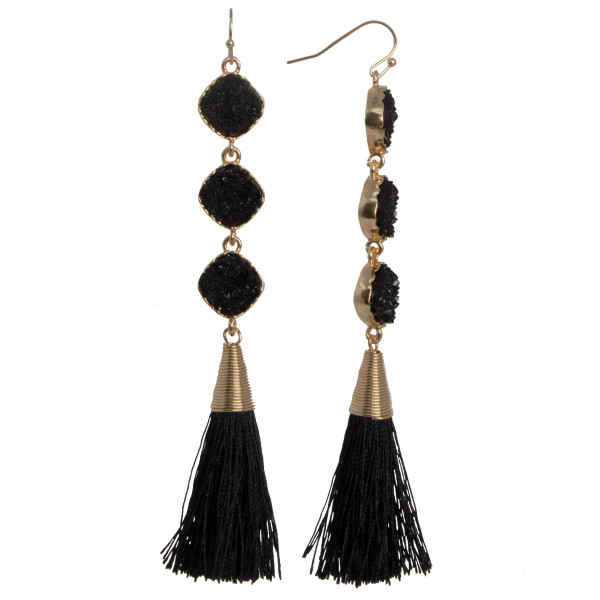 """Gold tone fishhook earring with faux druzy detail and soft knit tassel. Approximately 3.5"""" in length."""
