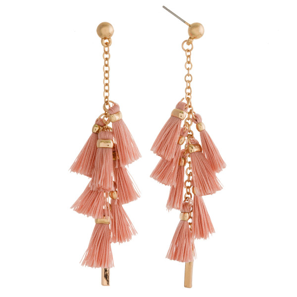"""Gold tone stud earring with soft thread tassels. Approximately 3"""" in length."""