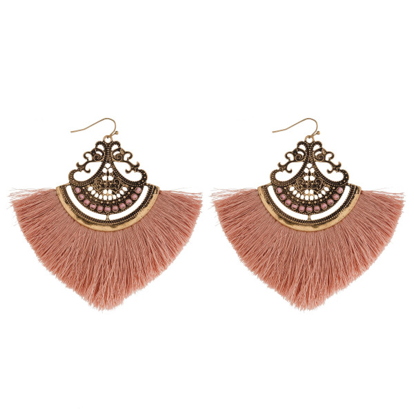"""Gold tone fishhook earring with fanned tassel. Approximately 3"""" in length."""