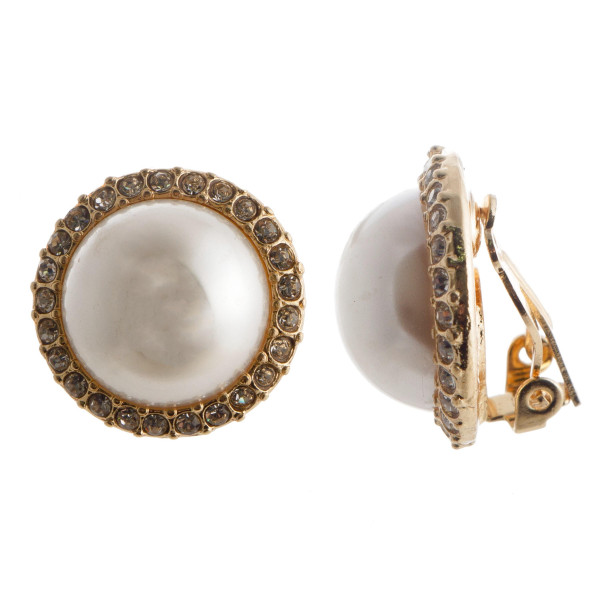 Round clip on stud earring with pearl and rhinestone details . Approximate .5 in length.