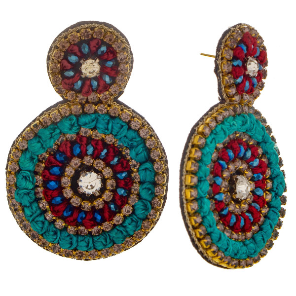 "Short circular earring with rhinestone and rope detail. Approximate 2.0"" in length."