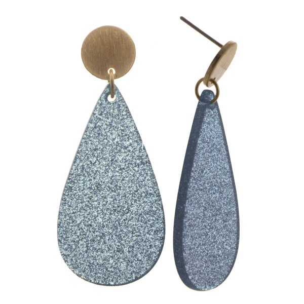 Gold stud with teardrop shaped acetate earring with glitter. Approximate 1.5 in length.