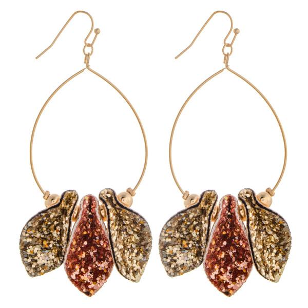 """Long glitter metal earrings. Approximate 3"""" in length."""