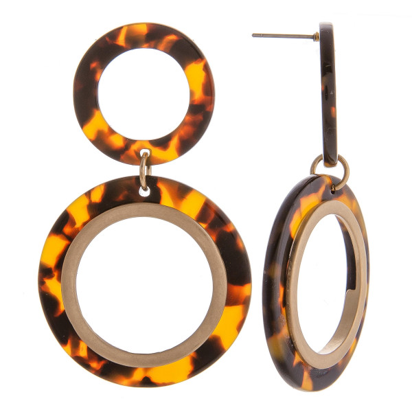 "Long double hoop earring with acetate details. Approximate 2.5"" in length."