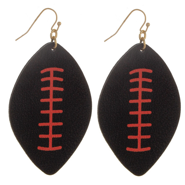 "Long fish hook football shaped earring. Approximate 2.5"" in length."
