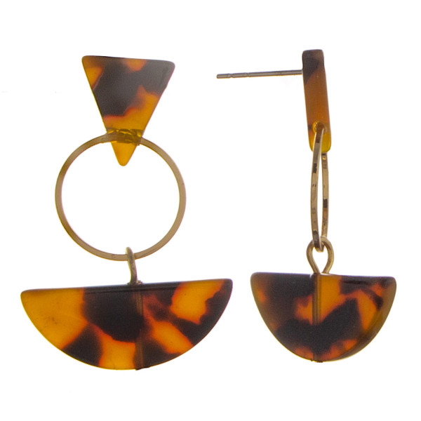 """Short triangle/ half moon earrings with acetate details. Approximate 1"""" in length."""