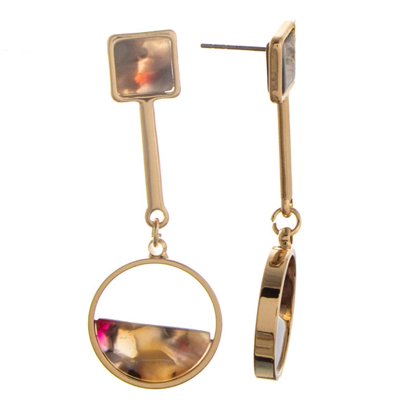 """Long gold metal earring with acetate details. Approximate 2"""" in length."""