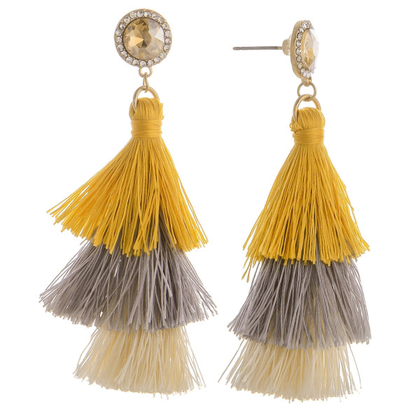 Wholesale long tassel earring multiple colors rhinestone post
