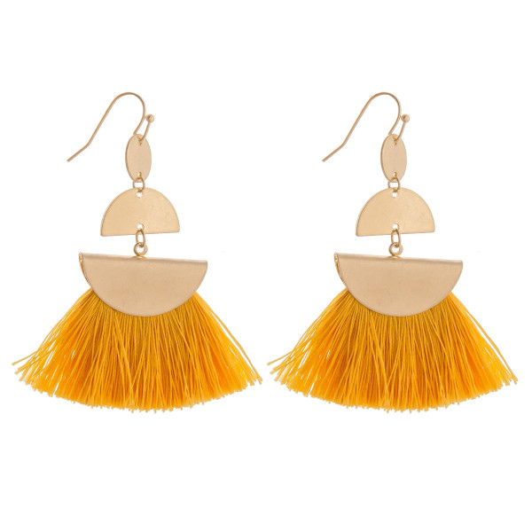 Long gold dazzling earring with tassel. Approximate 2.5 in length.