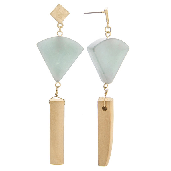 """Long earring with upside down natural stone triangle design. Approximate 3.5"""" in length."""