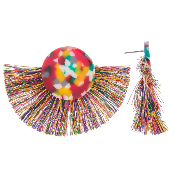 Short acetate earrings with fanned tassel. Approximate 1.5 in length.