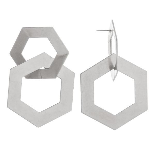Long double hoop octagon earrings. Approximate 2.5 in length.