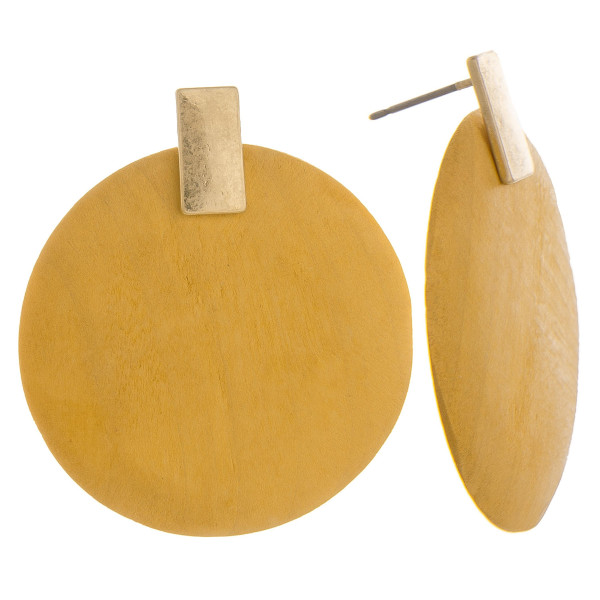 "Gorgeous wood earring with gold post. Approximate 1"" in diameter."