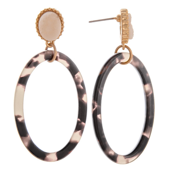 """Gorgeous oval hoop earring with some natural stone detail on stud. Approximate 2"""" in length."""
