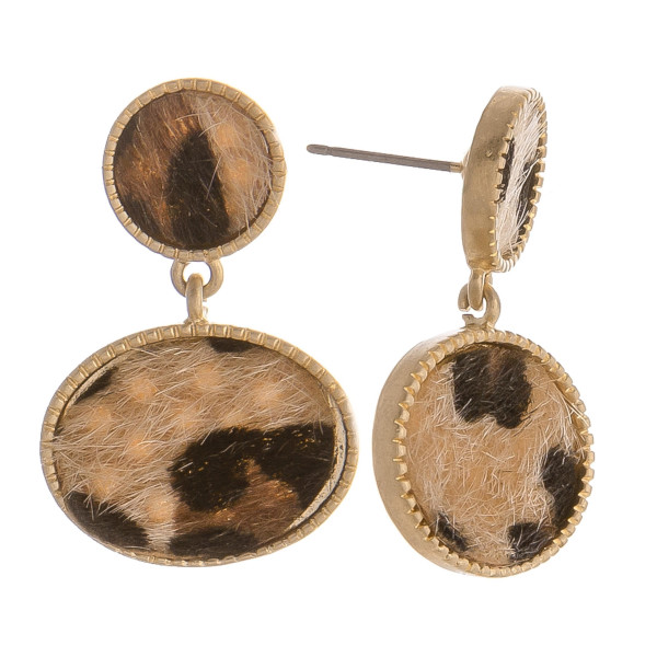 """Gorgeous animal print short earrings. Approximate 1"""" in length."""