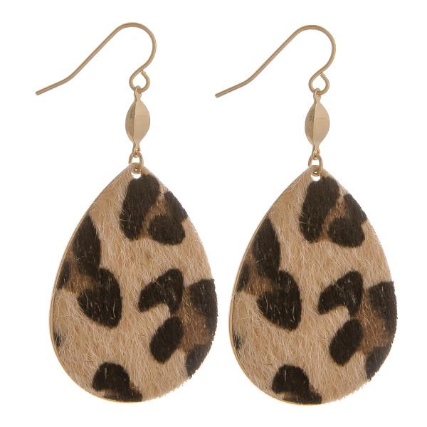 "Gorgeous fishhook animal print teardrop earrings. Approximate 2"" in length."