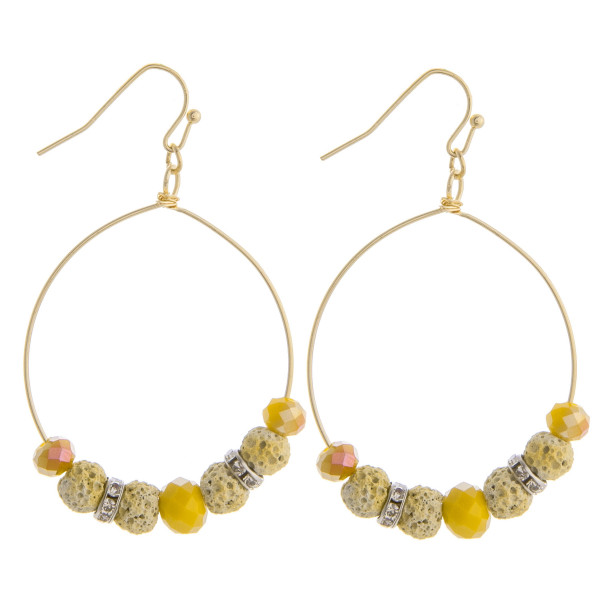 "Gorgeous gold beaded hoop earrings. Approximate 1.5 in length and 1"" in width."