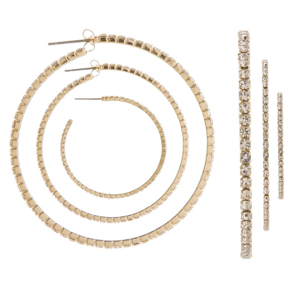 """You won't go wrong with these gorgeous hoop earrings. Gives that perfect Bling! Comes with one small- One medium hoop- One large hoop. Approximate Large hoop 3"""" in diameter- Medium hoop 2"""" in diameter and small hoop 1"""" in diameter."""