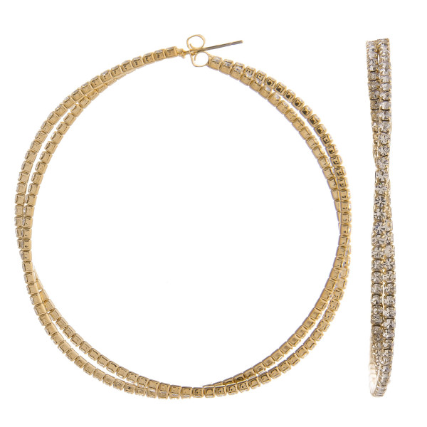 "You won't go wrong with these gorgeous double hoop earrings. Gives that perfect Bling!  Approximate 1.5"" in diameter."