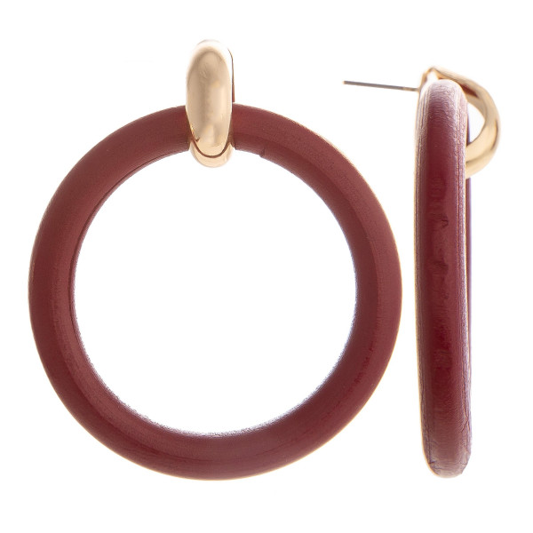 Wholesale gold post earring wood hoops Approximate diameter