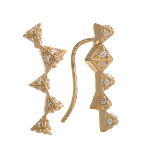 """Short earrings with triangle and rhinestones details. Gorgeous for everyday wear. Approximate 1"""" in length."""