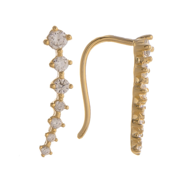 "Short earrings with rhinestones. Gorgeous for everyday wear. Approximate 1"" in length."
