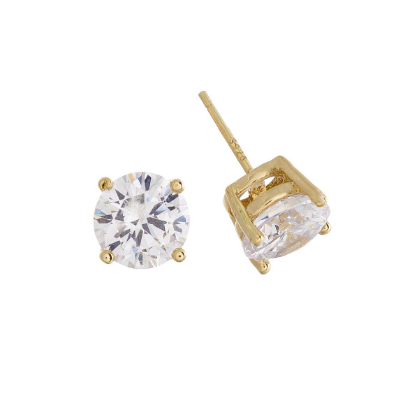Gorgeous gold dipped cubic zirconia stud earrings. Approximate 8mm.